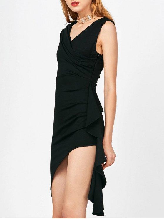 Asimétrica hendidura lateral volante vestido furtivo Sobrepelliz - Negro M