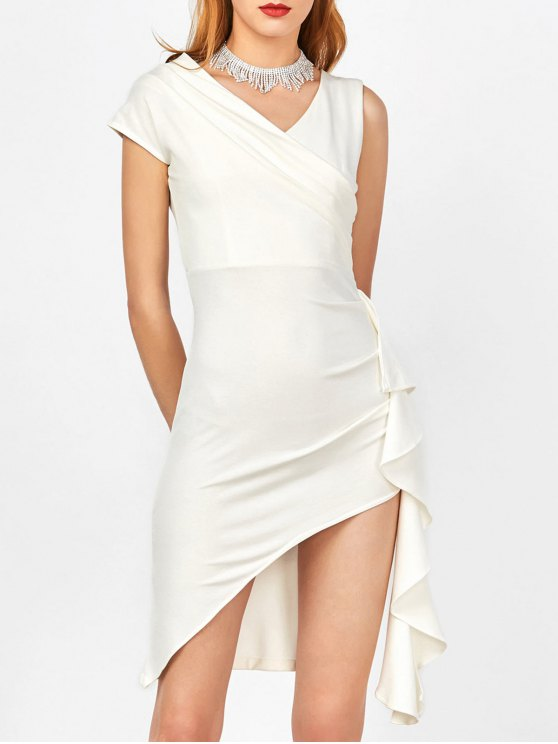 new Asymmetric Side Slit Ruffle Surplice Slinky Dress - WHITE L