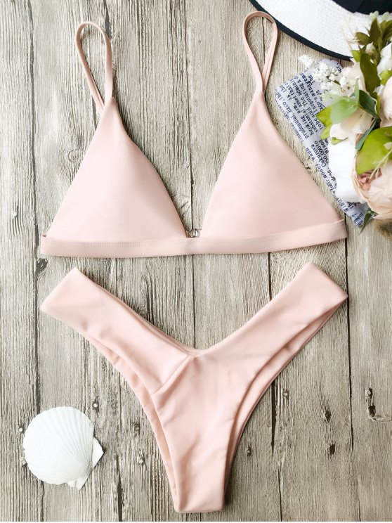 Soft Pad Spaghetti Straps Thong Bikini Set - PINK S Mobile