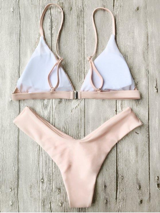 Soft Pad Spaghetti Straps Thong Bikini Set - PINK M Mobile