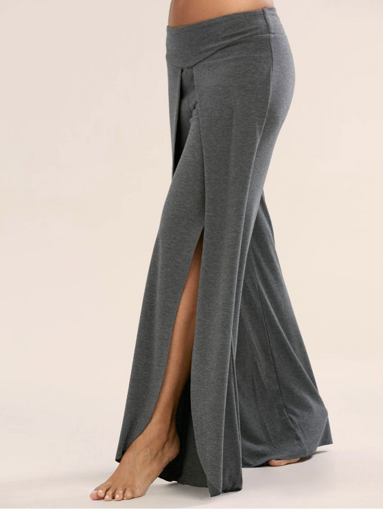 hot High Slit Palazzo Pants - DEEP GRAY 2XL