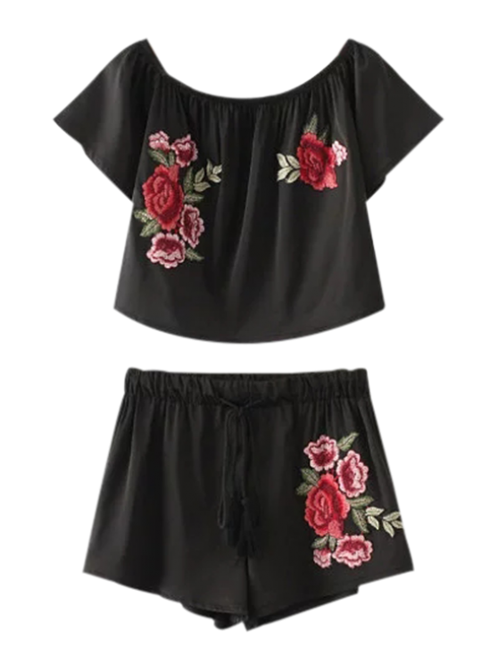 Cropped Floral Embroidered Top and Drawstring Shorts - BLACK S Mobile