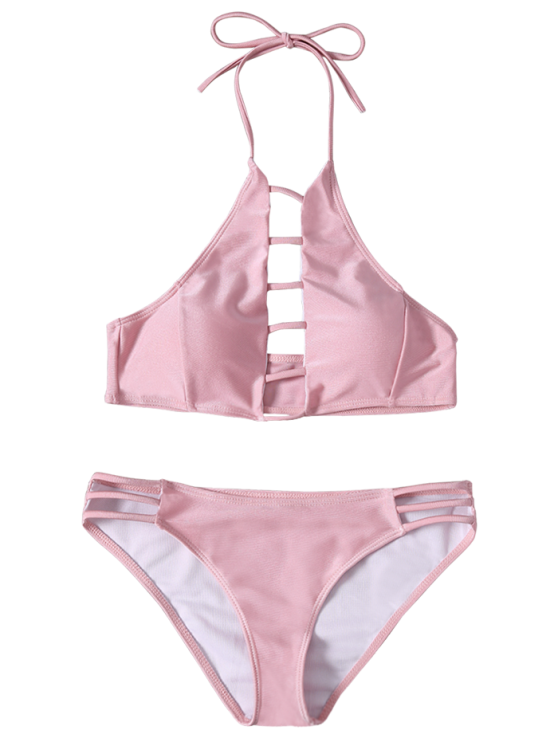 Ladder Cutout High Neck Bathing Suit - PINK M Mobile