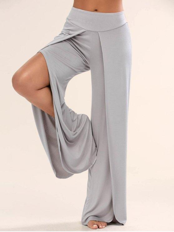 pantalones palazzo con abertura Alta - Gris XL