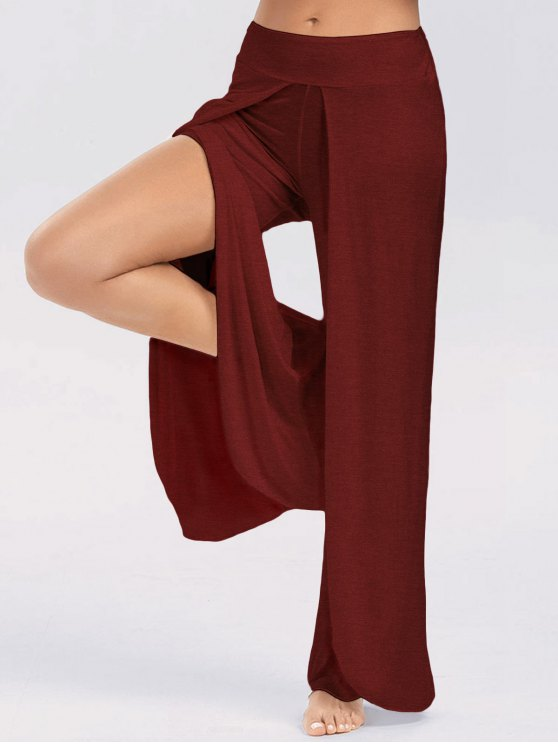 fashion High Slit Palazzo Pants - WINE RED 2XL