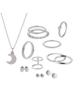 Rhinestone Circle Moon Jewelry Set - Silver