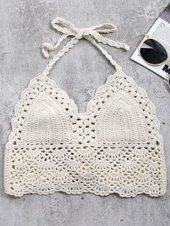 Crochet Back Tie Bralette Swim Top - Off-white