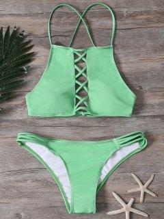Crisscross Front High Neck Bikini Set - Green S