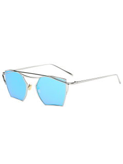 Polygonal Mirrored Cambered Metal Crossbar Sunglasses - Silver Frame+blue Mercury Lens