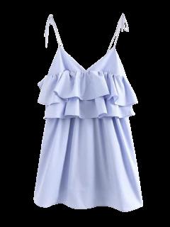 Layered Flounced Casual Dress - Light Blue M