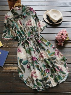 زر حتى الأزهار الرباط الخصر فستان الكتان - أخضر