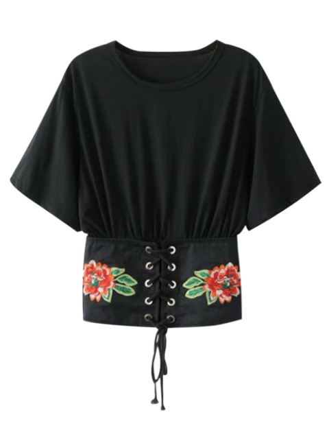latest Embroidered Kimono Lace Up Top - BLACK M Mobile