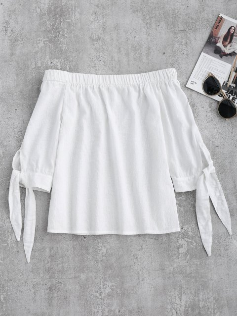 women's Off Shoulder Tied Sleeve Blouse - WHITE S Mobile