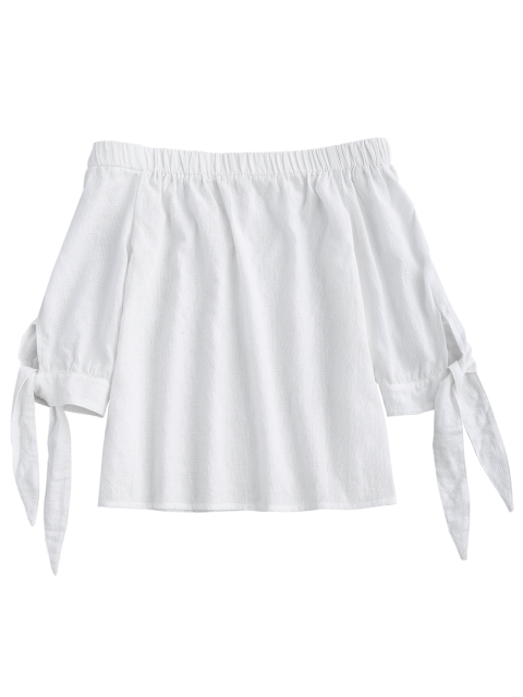 ladies Off Shoulder Tied Sleeve Blouse - WHITE M Mobile