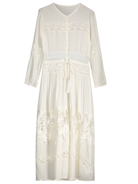 latest Button Up Lace Panel Drawstring Waist Dress - WHITE S Mobile