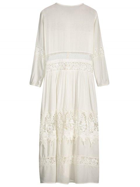 trendy Button Up Lace Panel Drawstring Waist Dress - WHITE M Mobile
