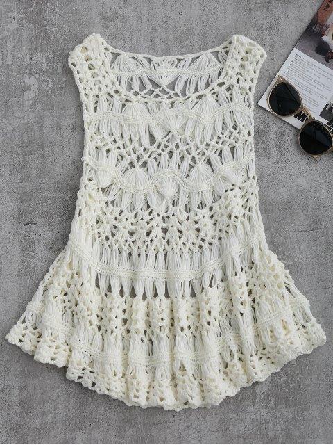 unique Cut Out Crochet Cover Up - WHITE M Mobile