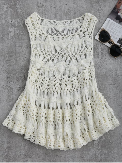 sale Cut Out Crochet Cover Up - WHITE L Mobile