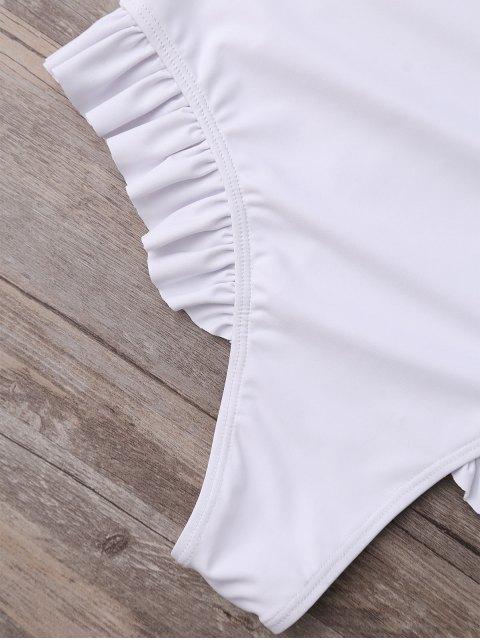 shop Plunging Neck Ruffle Strap Bride Swimsuit - WHITE M Mobile