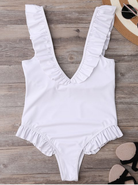 shops Plunging Neck Ruffle Strap Bride Swimsuit - WHITE S Mobile