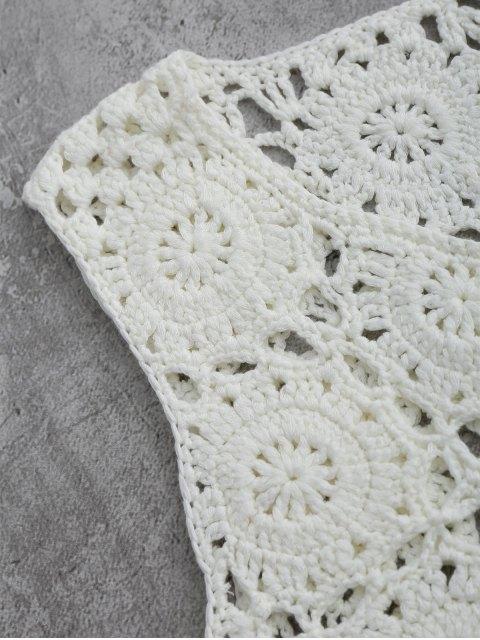 chic Sleeveless Tassels Crochet Cover Up - WHITE M Mobile