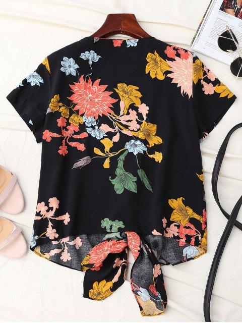 ladies Floral Knot Hem Top - BLACK M Mobile