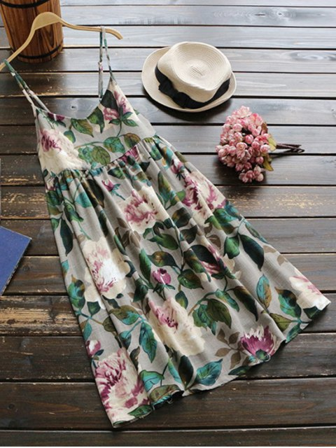 fancy Slip Floral Linen Holiday Dress - GREEN ONE SIZE Mobile