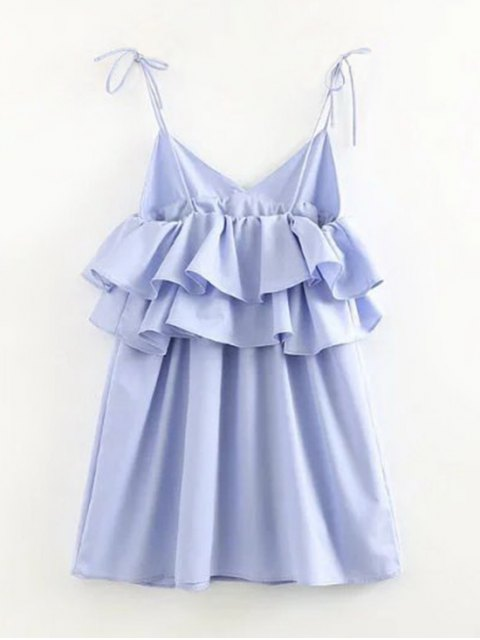 affordable Layered Flounced Casual Dress - LIGHT BLUE S Mobile