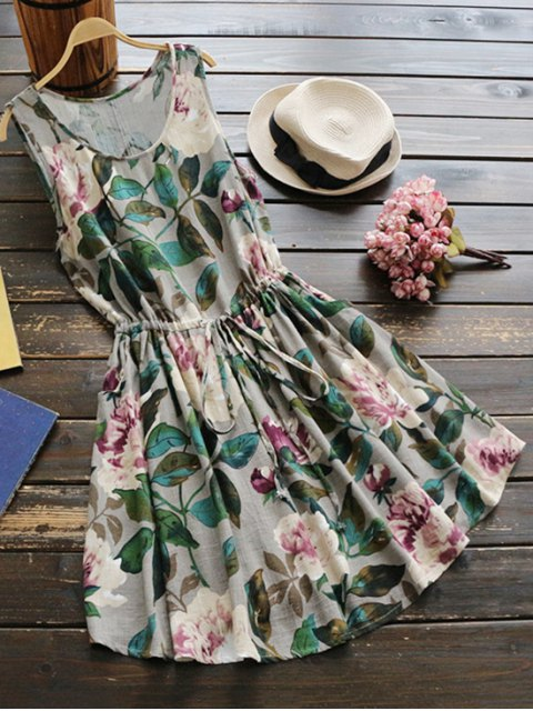 buy Sleeveless Drawstring Waist Floral Linen Dress - GREEN ONE SIZE Mobile