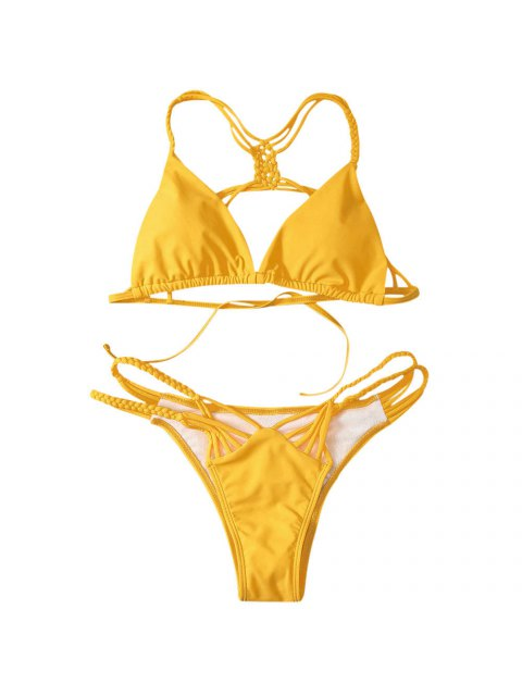 new Strappy Cut Out Bikini Set - YELLOW L Mobile