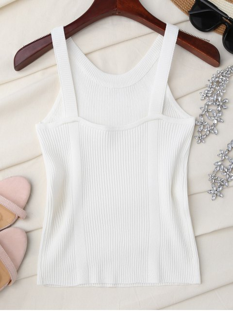 shop High Neckline Knitted Tank Top - WHITE ONE SIZE Mobile
