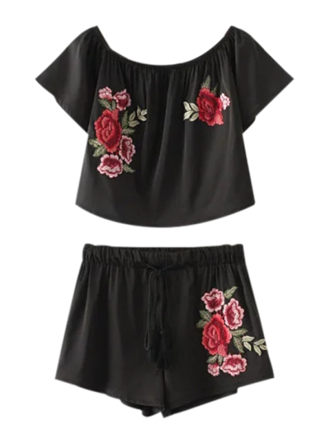 new Cropped Floral Embroidered Top and Drawstring Shorts - BLACK S Mobile