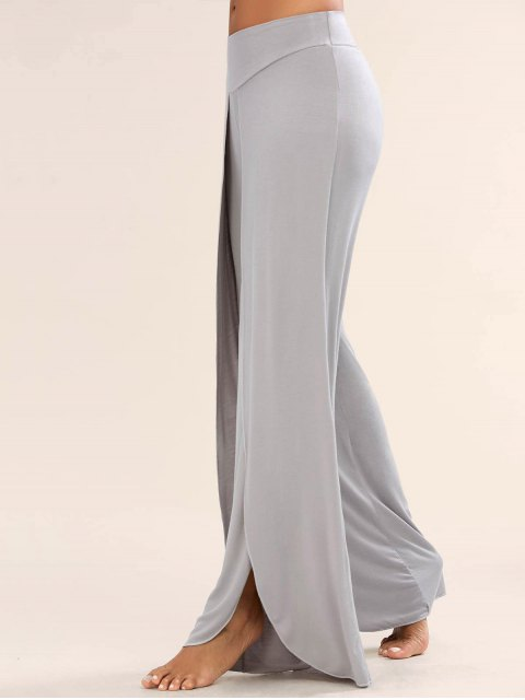 lady High Slit Palazzo Pants - GRAY M Mobile