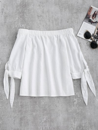 Off Shoulder Tied Sleeve Blouse - White