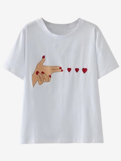 Cute Patched T-Shirt - White