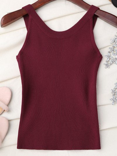 High Neckline Knitted Tank Top - Wine Red