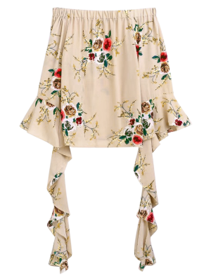 Flare Sleeve Off The Shoulder Blouse - Apricot