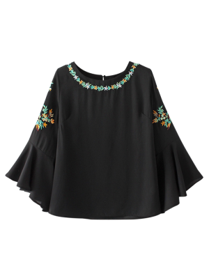 Flare Sleeve Embroidered Chiffon Blouse - Black