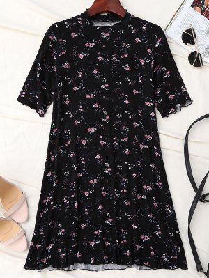 Tiny Floral Ruffle Neck T-Shirt Dress - Noir