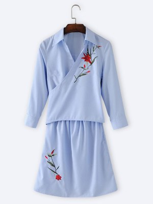 Floral Embroidered Stripes Long Sleeve Dress - Light Blue