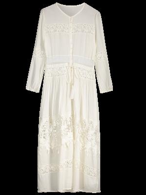 Button Up Lace Panel Drawstring Waist Dress - White