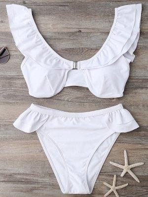 Ruffles Scoop Neck Bathing Suit - White