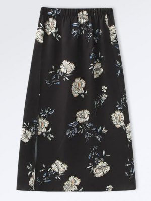 Poplin Floral A-Line Skirt - Black