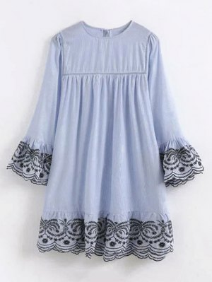 Striped Embroidered Flare Sleeve Dress - Light Blue