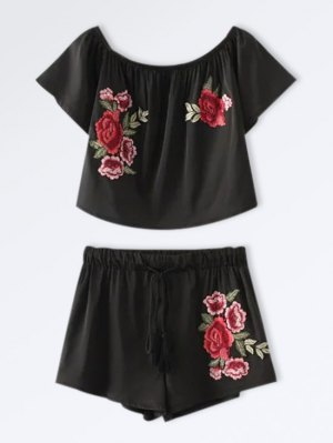 Cropped Floral Embroidered Top And Drawstring Shorts - Black