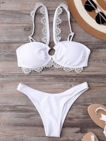 Wedding Bride V Strap Bikini Set - White S