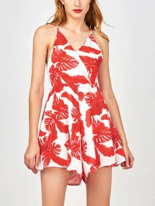 Tropical Print Wide Leg Surplice Romper - Red S