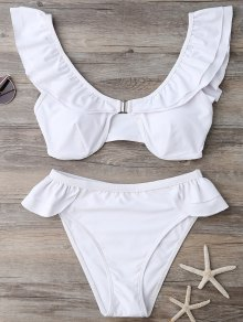 Ruffles Scoop Neck Bathing Suit - White M