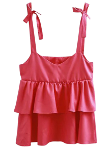Ruffles Layered Straps Tank Top - Rose Red S