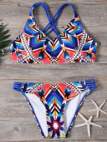Colored Geo Print Strappy Bikini Set - Multicolor L